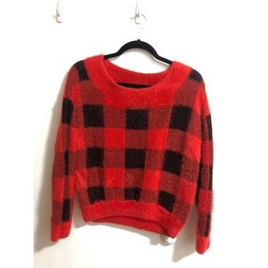 EXPRESS Red Checkered Sweater (size S)